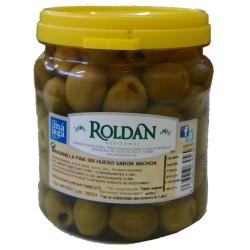 Aceitunas manzanilla sin hueso sabor anchoa ROLDÁN, 400 g
